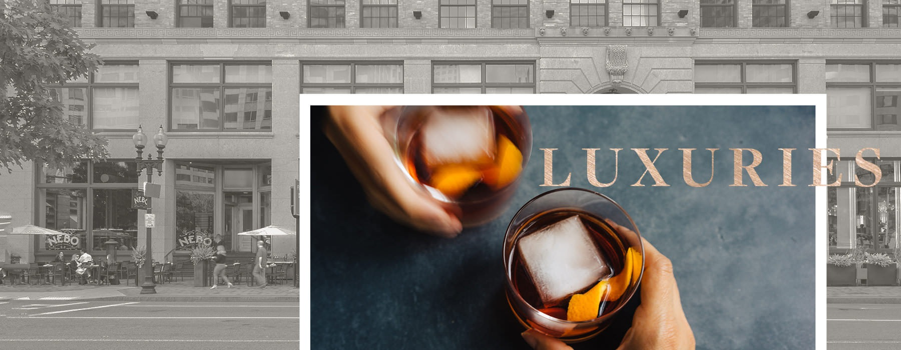Luxuries graphic with apartment exterior, title and glasses of iced liquor