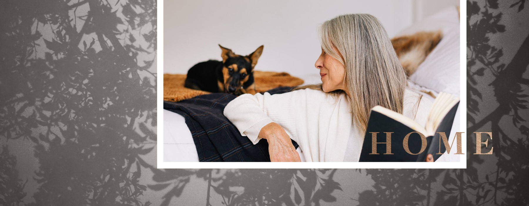 collage of woman on couch with a book, looking back at her dog with background image of trees