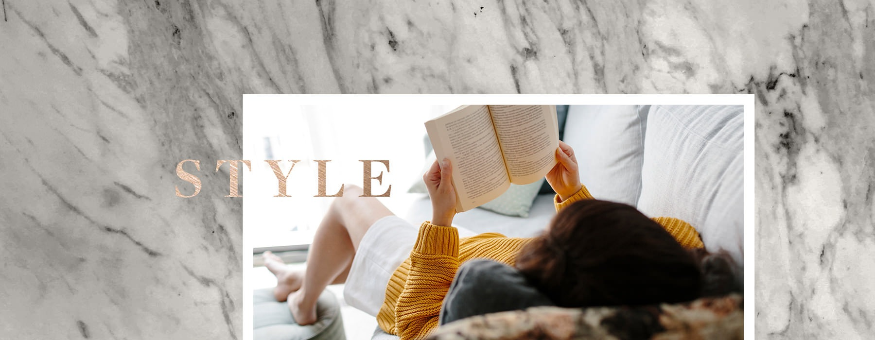 collage of woman laying on couch, reading a book and background image of marble