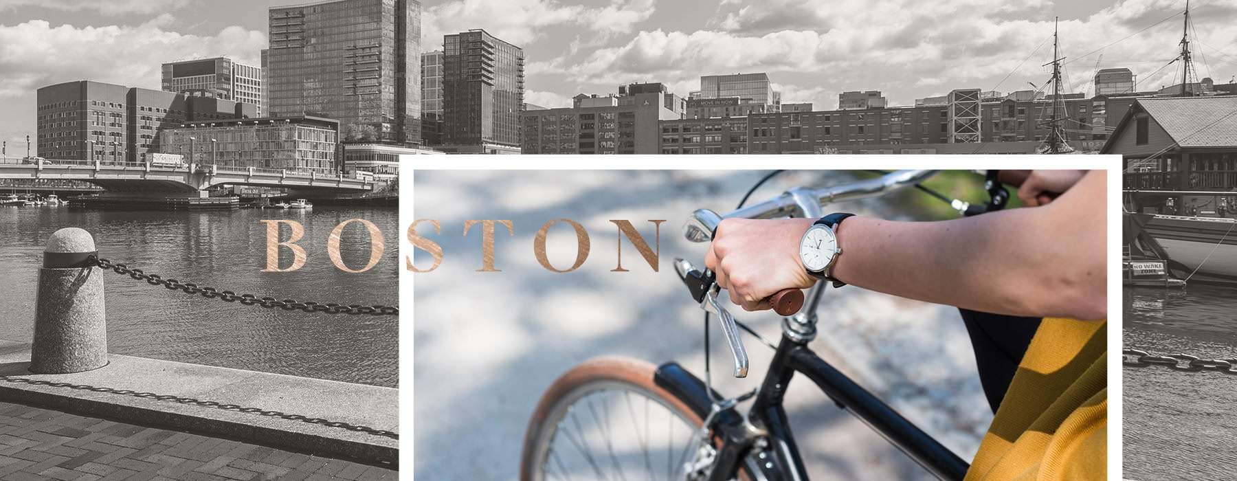 collage of man on bicycle and background image of the Boston skyline