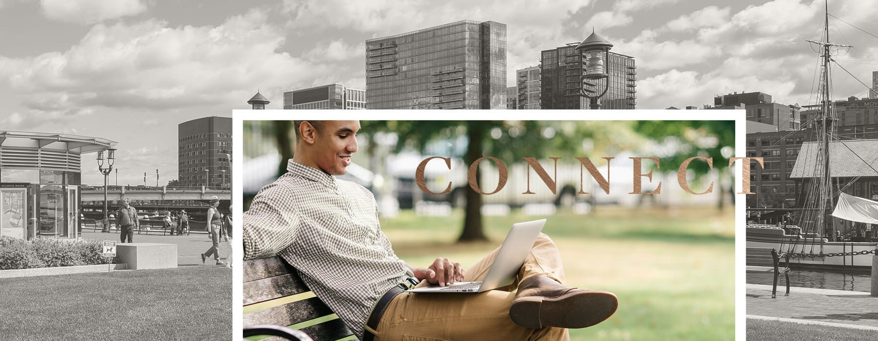collage of man sitting on park bench looking at his laptop with secondary image of Atlantic Wharf Waterfront in the background